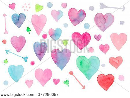 Collection Of Cute Vibrant Vector Watercolor Hearts And Arrows For Valentines Day Greeting Cards And