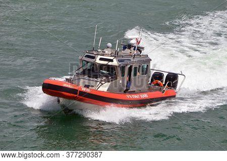 Miami Beach,florida,u.s.a. 19 July 2020.  U.s.coast Guard Patrol Boat Returning To The Coast Guard S