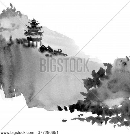 Watercolor And Ink Illustration Of Chinese Landscape With Pagoda And Mountains In Style Sumi-e, U-si
