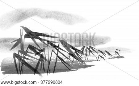 Watercolor And Ink Illustration Of Chinese Landscape With Bamboo In Waterand Mountains In Style Sumi
