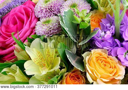 Modern Floral Bouquet Of Different Flowers, Colorful Bunch Of Flowers.red Roses, Chrysanthemum. Free
