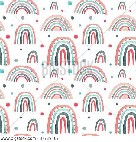 Watercolor Nursery Pink Raindow Seamless Pattern. Scandinavian Style Hand Painted Rainbows Backgroun