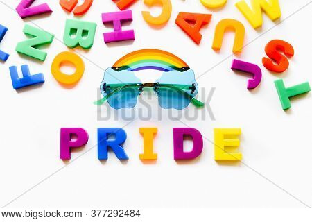 Gay Love Rainbow Pride Word Isolated On White Background. Equal Rights, Lqbtq Pride Month Against Ga