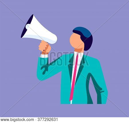 Young Business Speaks A Leadership Speech Into A Shout Or A Megaphone. The Announcement Of Good News