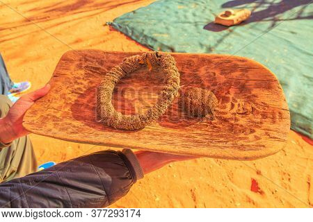 Kings Creek Station, Northern Territory, Australia - Aug 21, 2019: Close Up Australian Aborigines Co