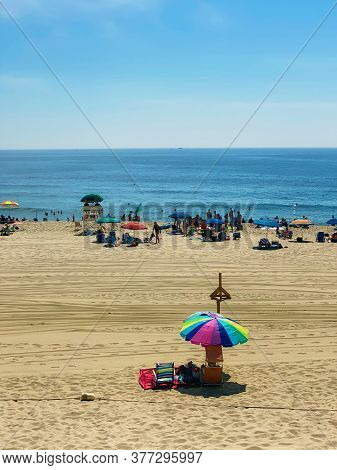 The Beach In Long Branch Along The Jersey Shore On A Hot Summer Day.