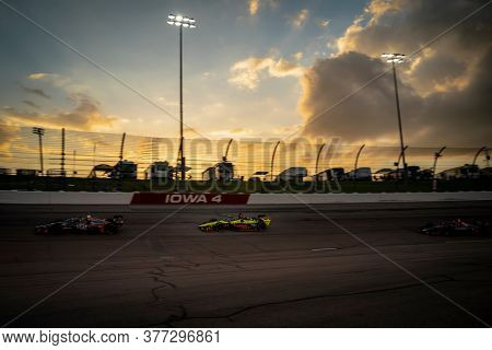 July 18, 2020 - Newton, Iowa, USA: SANTINO FERRUCCI (18) of the United States  races through the turns during the  race for the Iowa INDYCAR 250s at Iowa Speedway in Newton, Iowa.