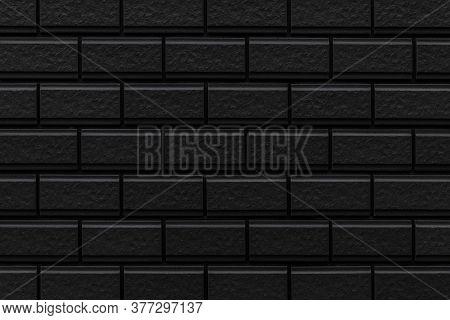 Black Brick Wall Texture And Seamless Background. Brickwork Or Stonework Flooring Interior Rock Old