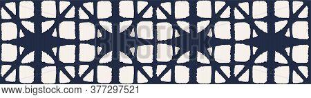 Japanese Tie Dye Seamless Pattern. Geometric Bohemian Asian Tie Dye Texture. Geo Shell Curve Print R