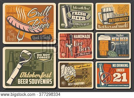 Beer Alcohol Drink Retro Posters Of Vector Pub, Brewery And Bar. Bottles, Glasses And Mugs Of Beer,