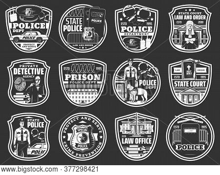 Law And Order Icons Of Vector Police, Law Office, Detective, Prison And Court Design. Police Officer