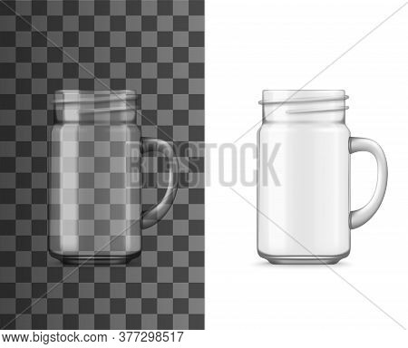 Glass Jar With Handle Realistic Vector Mockup. Isolated Transparent Drinking Cup Or Mug, Empty Clear