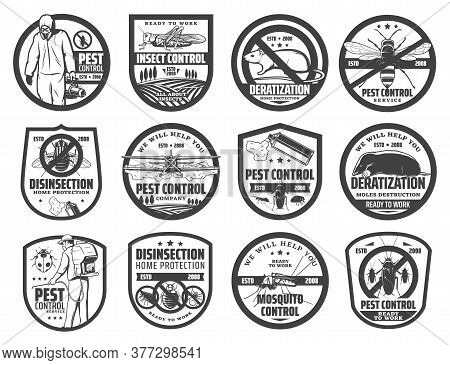 Pest Control Service Isolated Icons With Vector Pest Insects, Rodent Animals And Exterminator. Mosqu
