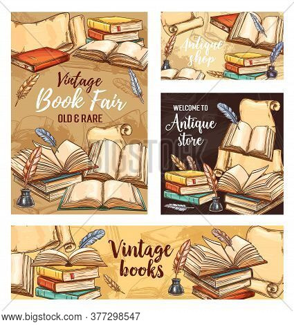 Feather Pen, Old Book And Ink Sketch Banners. Vector Paper Scrolls, Open Books And Vintage Quill Pen