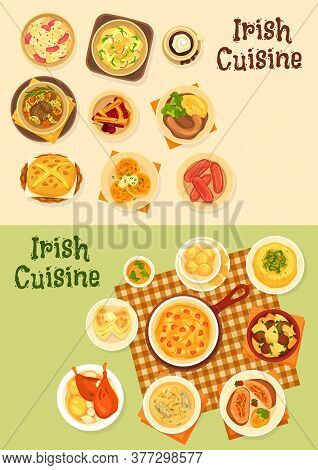 Irish Cuisine Food Vector Set Of Meat, Vegetable And Fish Dishes. Potato Salad, Boxty And Farl Panca