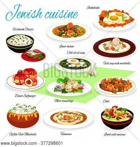 Jewish Cuisine Vector Food Of Meatball Fish Soup, Gefilte Fish And Hummus, Eggs With Vegetables, Bee