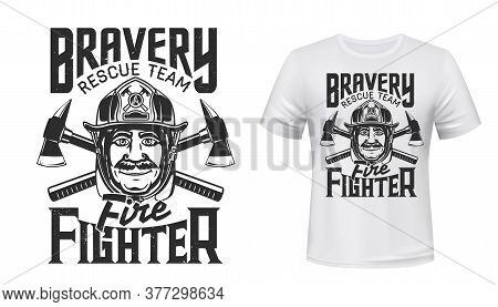 Firefighter T-shirt Print Of Fire Rescue Team Vector Mockup. Fireman With Safety Helmet Or Hard Hat