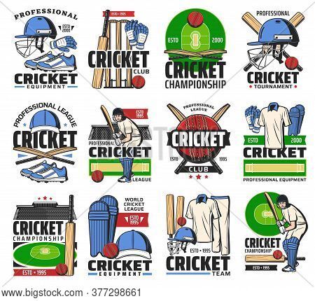Cricket Sport Ball, Bat And Player On Stadium Vector Icons. Cricket Sport Championship Tournament Is