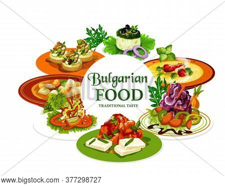 Bulgarian Food Vector Design Of Meat, Vegetable And Cheese Dishes. Yogurt Cucumber And Cabbage Salad