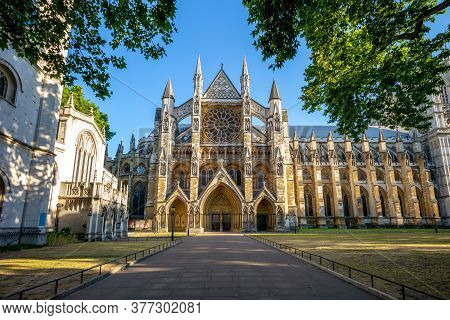 Facade Of Westminster Abbey In London, England, Uk