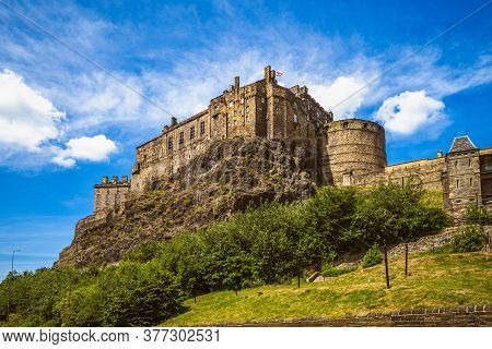 Scenery Of Edinburgh Castle In Edinburgh, Scotland, Uk