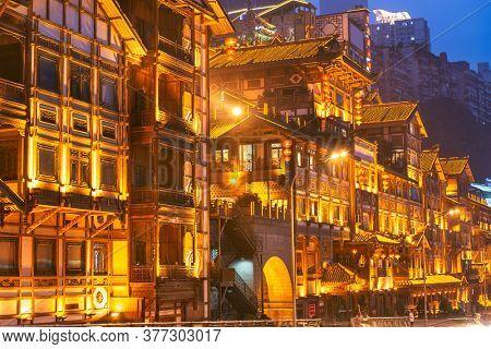 Chongqing, China at Hongyadong traditional district.