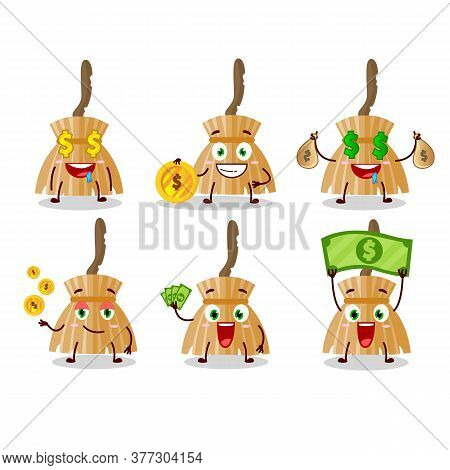 Witch Broom Cartoon Character With Cute Emoticon Bring Money