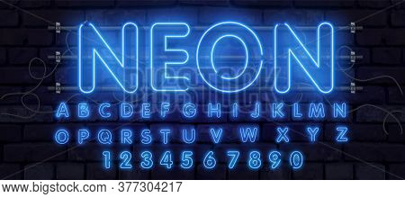 Blue Vector Neon Tube Alphabet Font. Neon Color Letters, Numbers And Symbols. Stock Vector Typeface