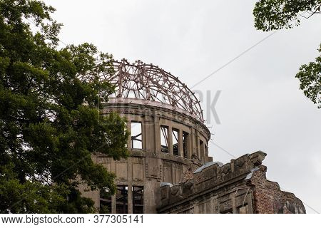 Hiroshima,japan-july 2019: Closeup Image Of The Atomic Bomb Dome Unesco World Heritage Building That
