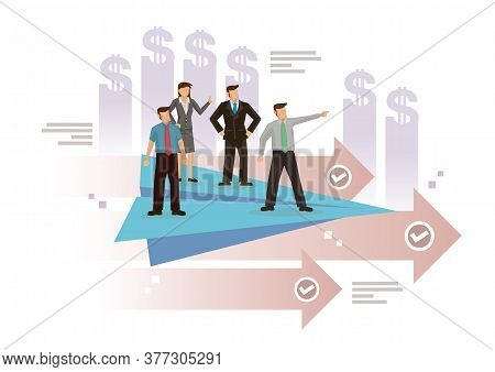 A Team Of Businesspeople Lead By A Manager On A Flying Paper Plane. Concept Of Vision, Challenge, Le