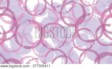 Grunge Hand Drawn Circles Geometry Fabric Print. Circular Blob Overlapping Elements Vector Seamless