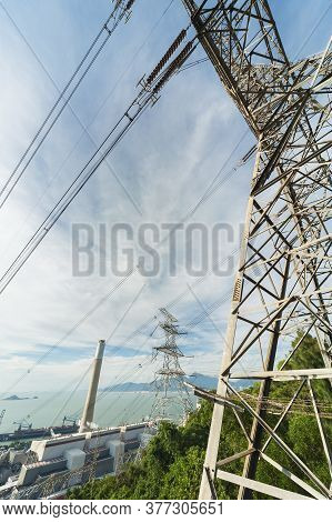 Chimney And Electric Pylon Of Power Plant