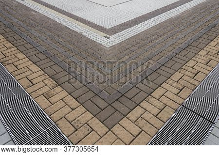 Tile On Stairway. Modern Building Abstract Background Pattern