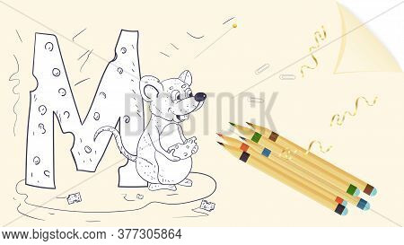 Illustration Of A Banner Layout, English Alphabet For Learning The Alphabet Letter M, Animal Mouse,