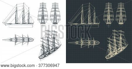 Large Sailing Ship Drawings With The Sails Down