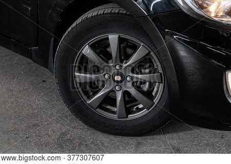 Novosibirsk/ Russia - June 15 2020: Hyundai Solaris, Car Wheel With Alloy Wheel And New Rubber On A