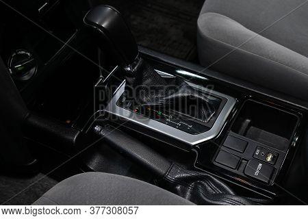 Novosibirsk/ Russia - May 25 2020: Toyota Land Cruiser Prado, Gear Shift. Automatic Transmission Gea