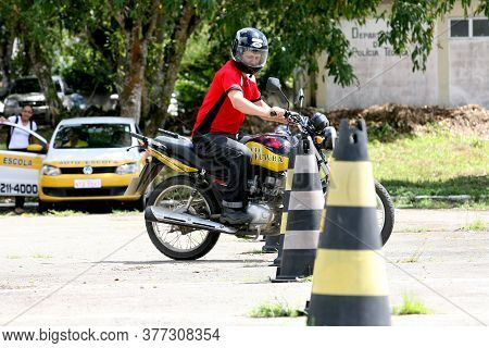 Itabuna, Bahia / Brazil - April 12, 2012: Driving School Student Takes A Practical Test To Obtain A