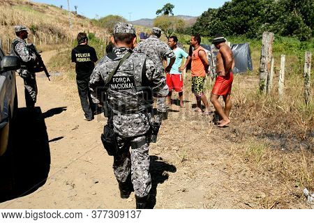 Pau Brasil, Bahia / Brazil - April 29, 2012: Agents Of The National Force Are Seen During Patrol In