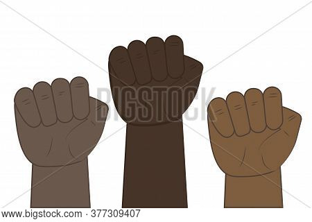Black Fist As A Symbol Of Power. Demonstration Of Racial Protest. Fight African People With Racism.