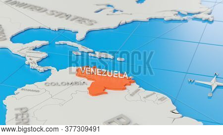 Simplified 3d Map Of South America, With Venezuela Highlighted. Digital 3d Render.
