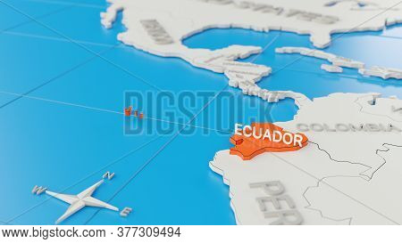 Simplified 3d Map Of South America, With Ecuador Highlighted. Digital 3d Render.