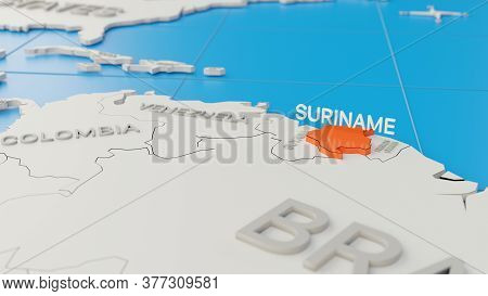 Simplified 3d Map Of South America, With Suriname Highlighted. Digital 3d Render.