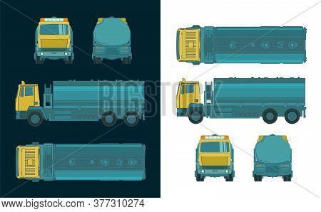 Refueler Truck Color Drawings