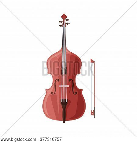 Cello And Bow Classical String Musical Instrument Flat Style Vector Illustration On White Background
