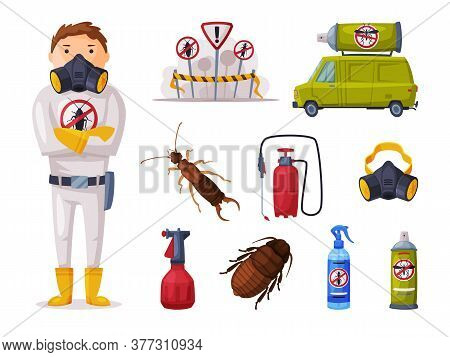 Professional Home Pest Service, Detecting, Exterminating And Protecting Equipment Vector Illustratio