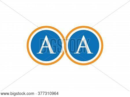 Aa Letter Logo Design With Two Round Shape Concept