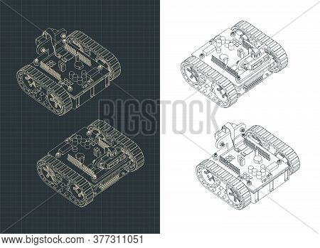 Tracked Robot Isometric Drawings