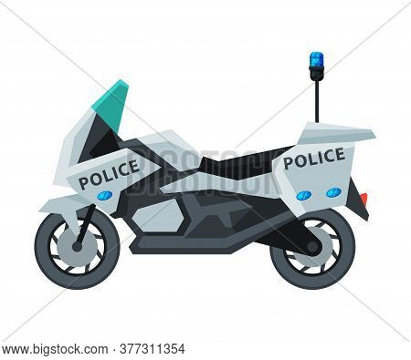 Police Motorcycle, Emergency Patrol Vehicle, Side View Flat Vector Illustration