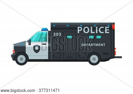 Police Truck, Emergency Patrol Vehicle, Side View Flat Vector Illustration